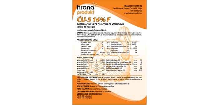 CU 5 16% Hrana Produkt
