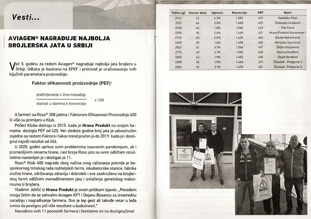 Aviagen nagrade za najbolja brojlerska jata u Srbiji